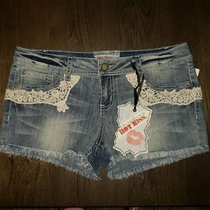Kiss Distressed Frayed Hem Denim Lace Cici Shorts